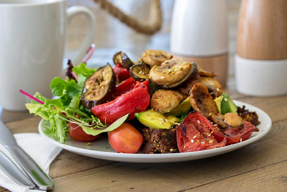 Sweet Potato Waffles with grilled mushrooms, eggplant, tomato & avocado