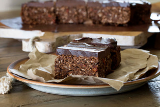 Chocolate Choc Chip Protein Bars with Chocolate Honeycomb Frosting