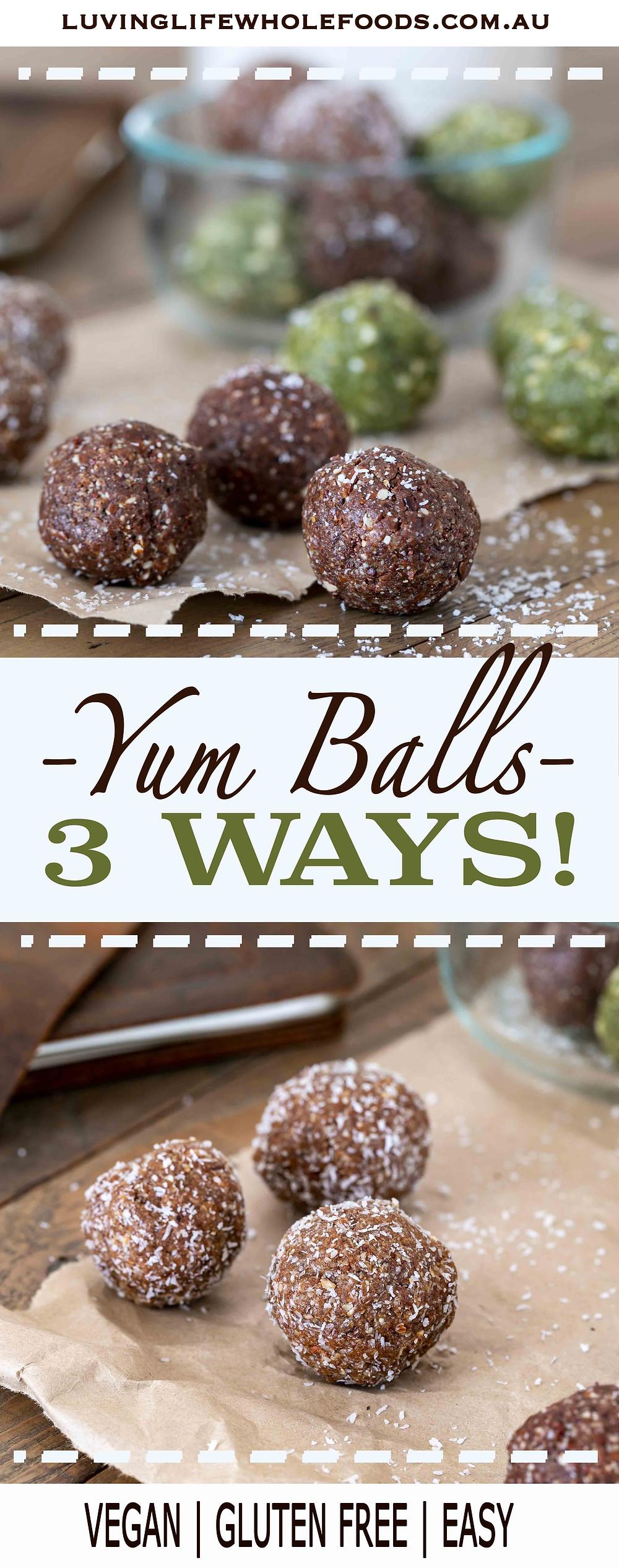 Yum Balls - chocolate, lemon matcha, cinnamon donut