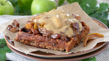 Apple and Cinnamon Spiced Anzac Waffles with Caramelised Apple and Pears with Salted Caramel Cream