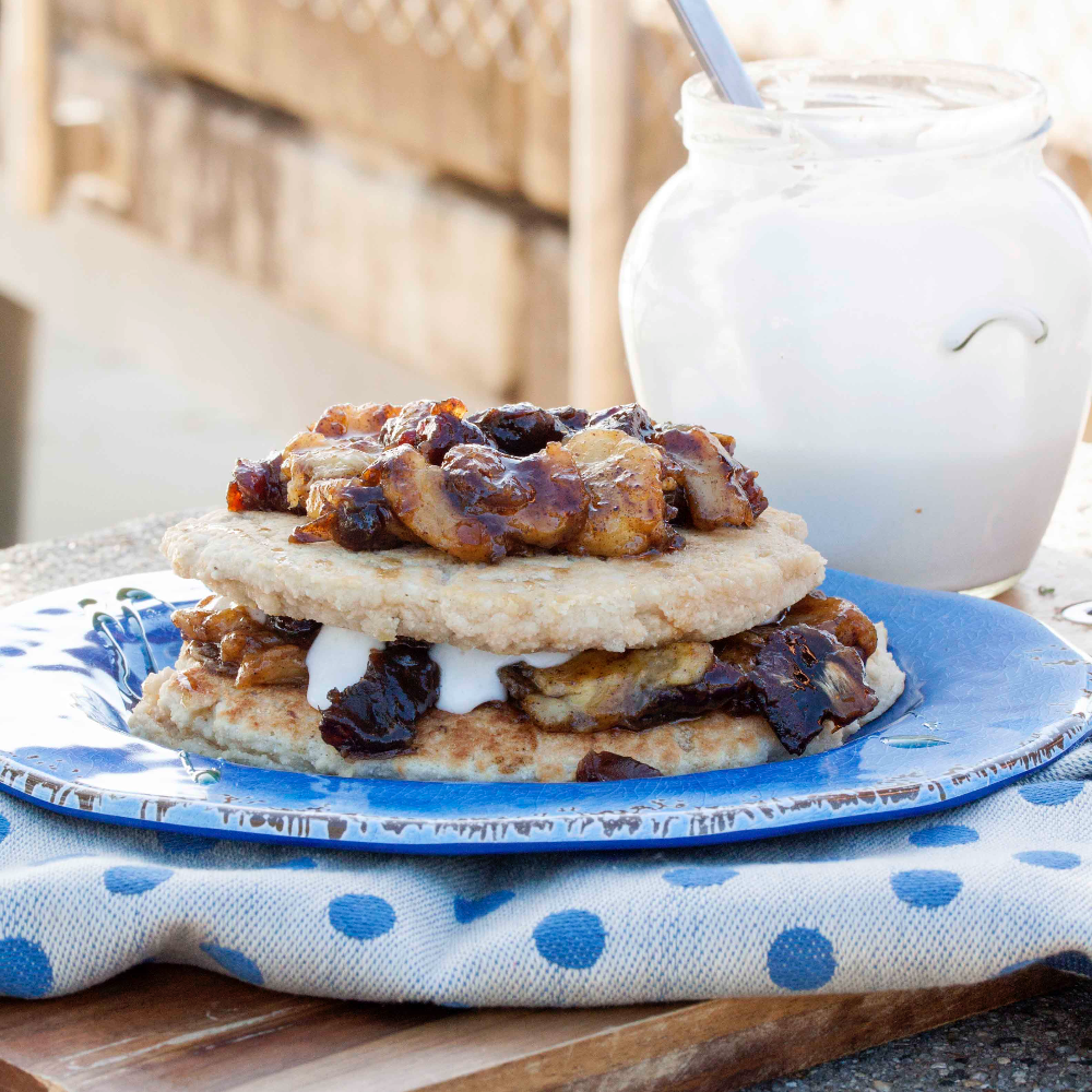 Fluffy Grain free Pancakes with Banana Date and Walnut Compote