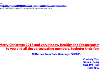 Festive Greetings message from Italy