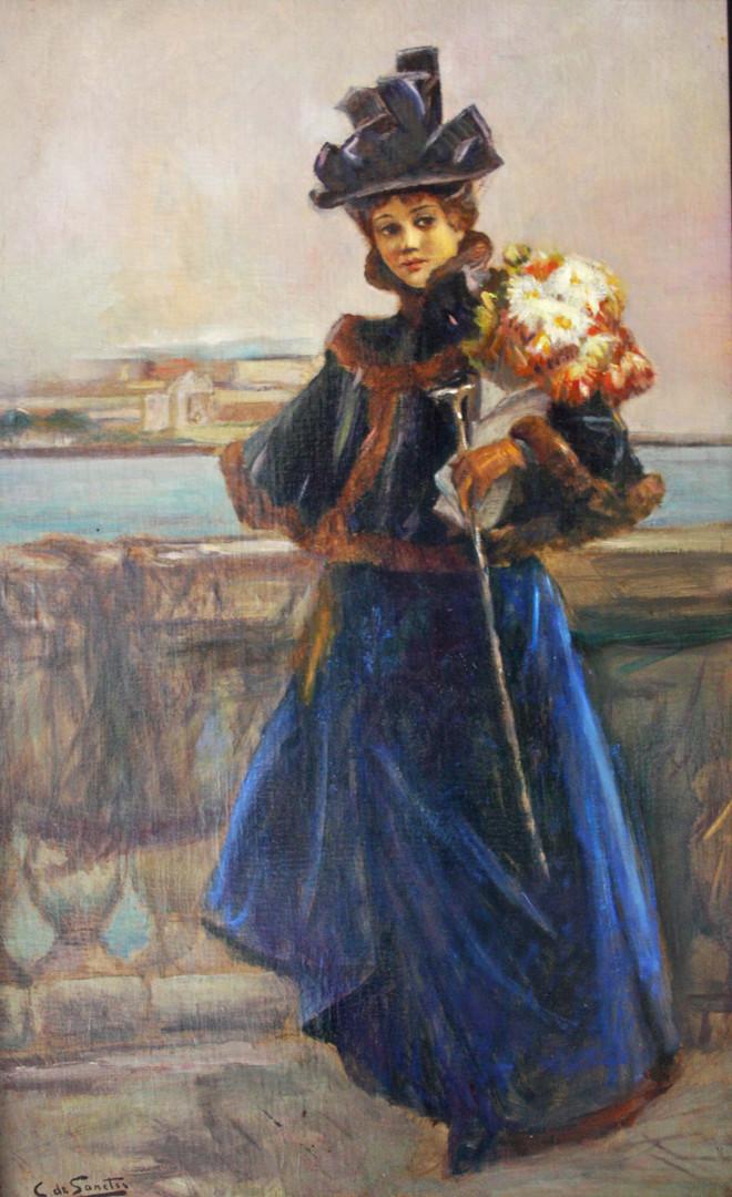 Elégante au bouquet de fleurs