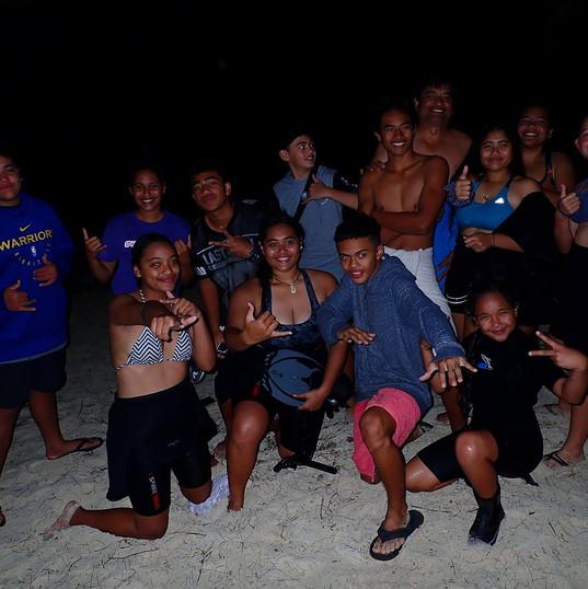 Night snorkeling group photo - Rongohiva