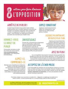 8 actions pour faire diminuer l'opposition