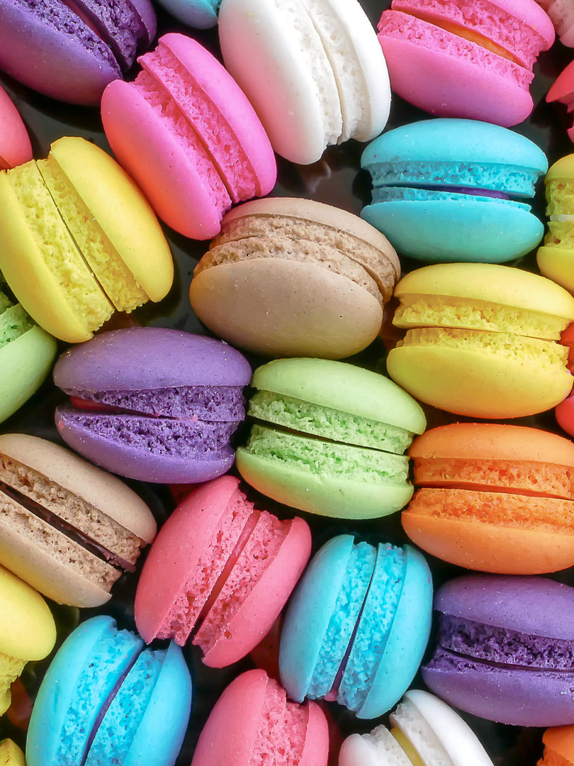 Close up colorful macarons dessert with