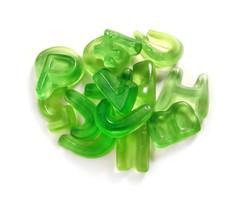Green candy. Gelatin candies. Alphabet