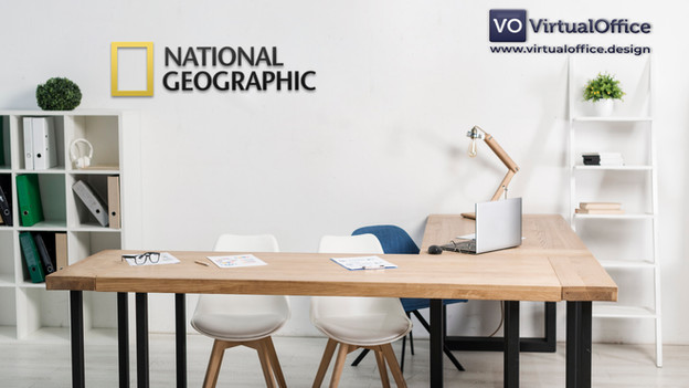 a branded Virtual background with National Geographic logo