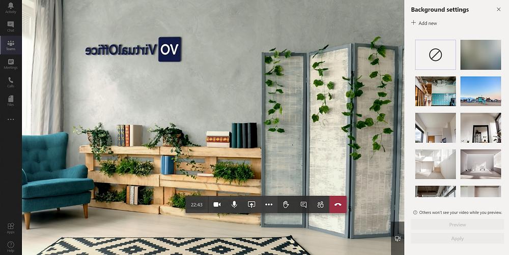 Branded virtual background for teams - VirtualOffice