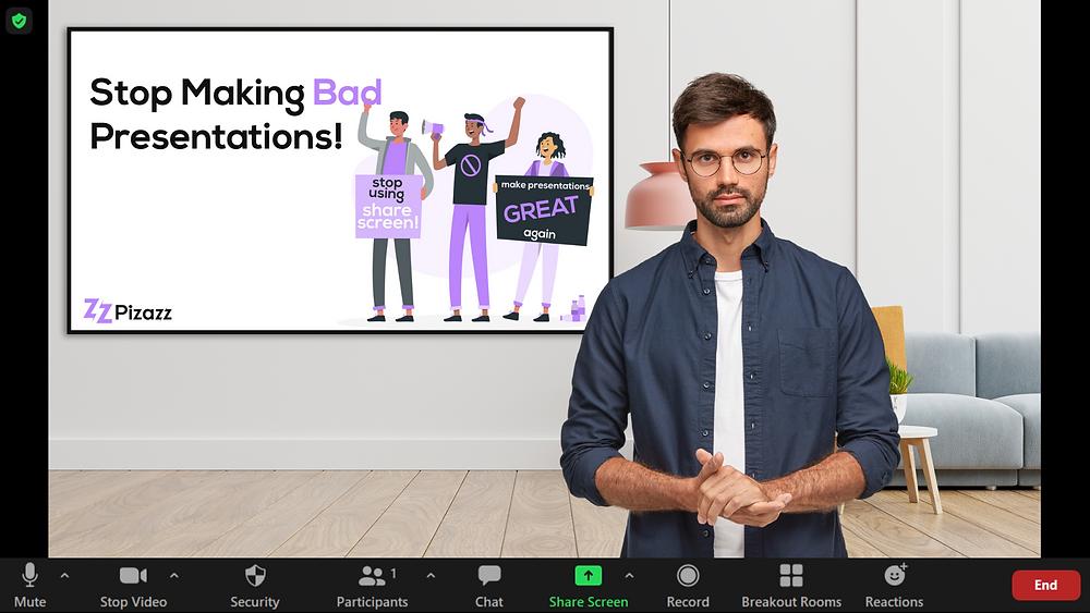 Pizazz - slides as a virtual background