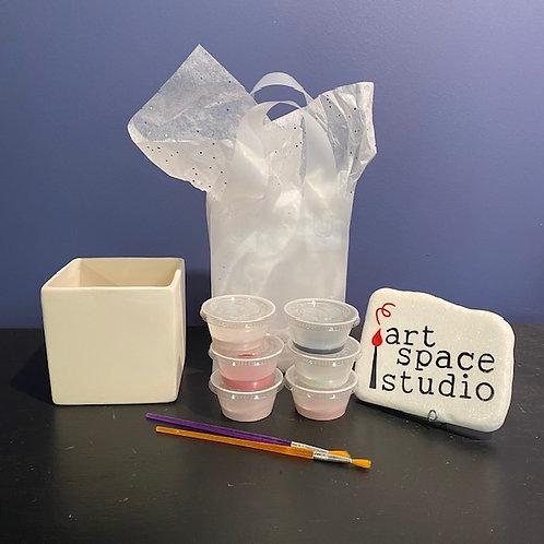 square handprint vase