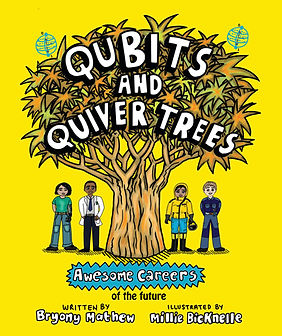 Front cover of Qubits and Quiver Trees children's book