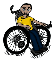 Male scientist in wheelchair