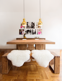 Two golden hanging lamps