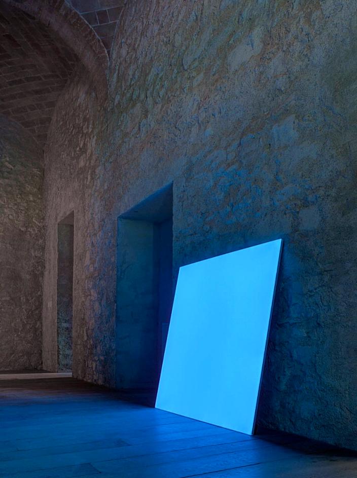 Large blue luminous light panel
