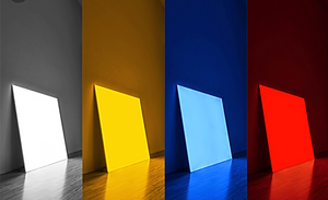 A white, yellow, blue and red Pablo light panel