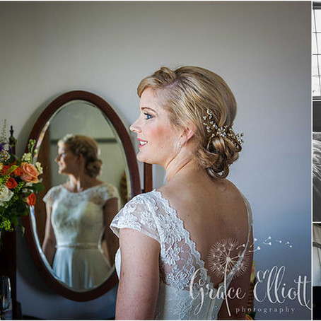 Real bride Emma looks exquisite in my gold Florence bridal headpiece. A beautiful rustic wedding in