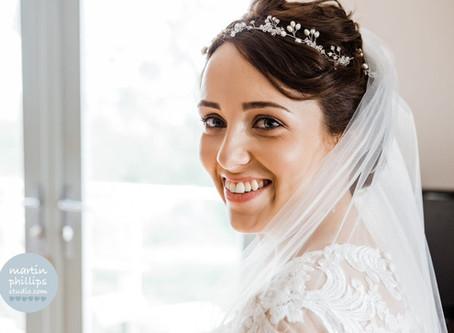 Real bride Rhiannon looks beautiful wearing my Fern bridal headpiece - A romantic Welsh vineyard wed