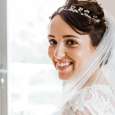 Real bride Rhiannon looks beautiful wearing my Fern bridal headpiece - A romantic Welsh vineyard wed