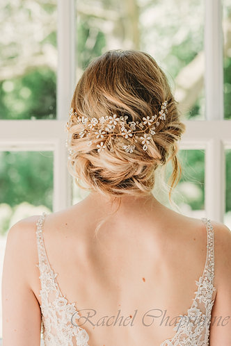 Floral bridal headpiece for a messy up do