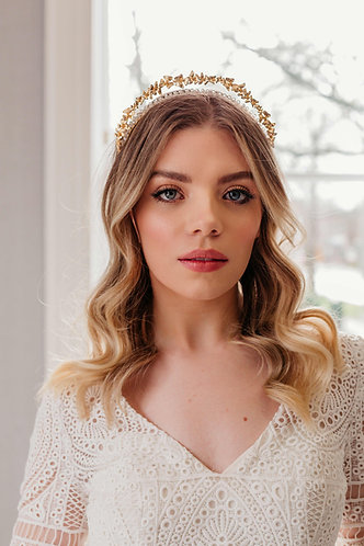 Unique wedding tiara with floral halo in silver or gold- Indira