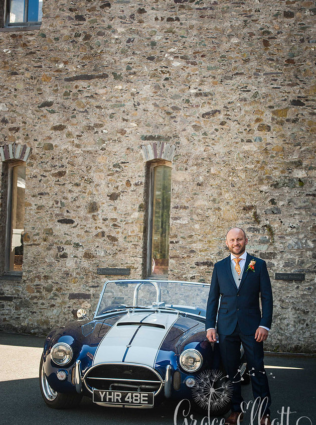 wedding-south-wales-groom- cobra-car