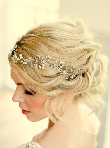 Boho bridal hair vine with Swarovski crystal & pearl - Fern