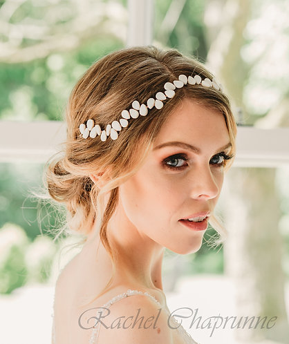 Pearl bridal hair vine with mother of pearl fans