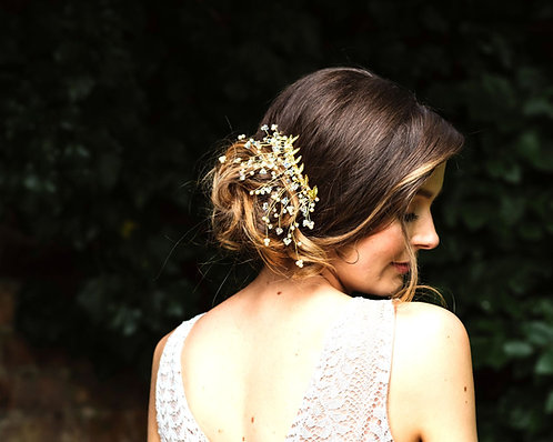 Bridal updo hair comb in silver or gold - Aura