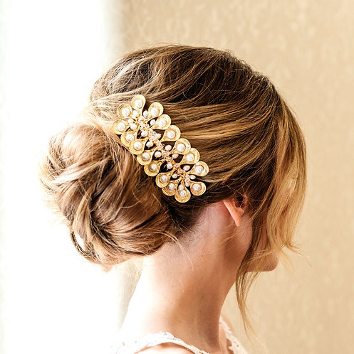 Art deco bridal headpiece in gold - Tyche
