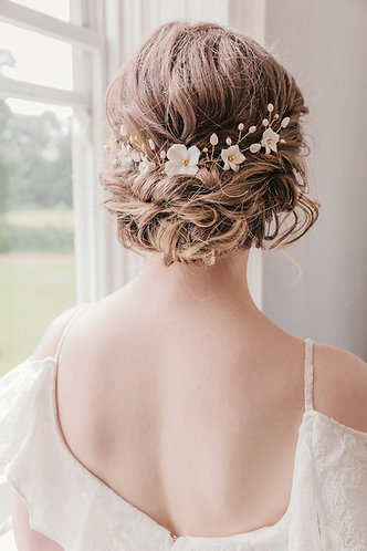 Wedding hair pins with flowers and leaves - Flora