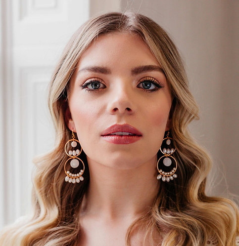 Boho bridal earrings with freshwater pearl - Ilaria