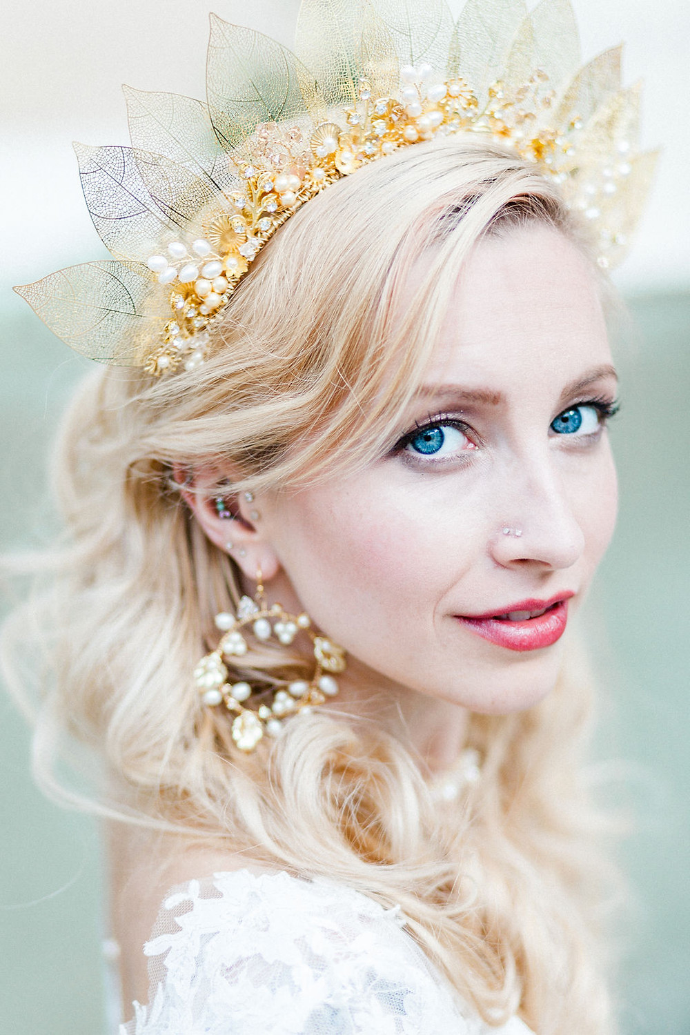 Gold leaf bridal headpiece with crystals and pearls