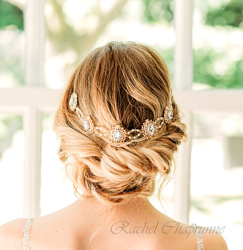 Gatsby bridal headpiece with Swarovski crystals and pearls