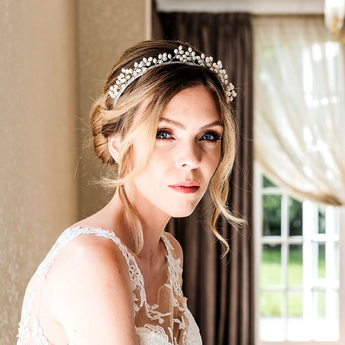 Luxury pearl bridal headpiece in silver or gold - Selene