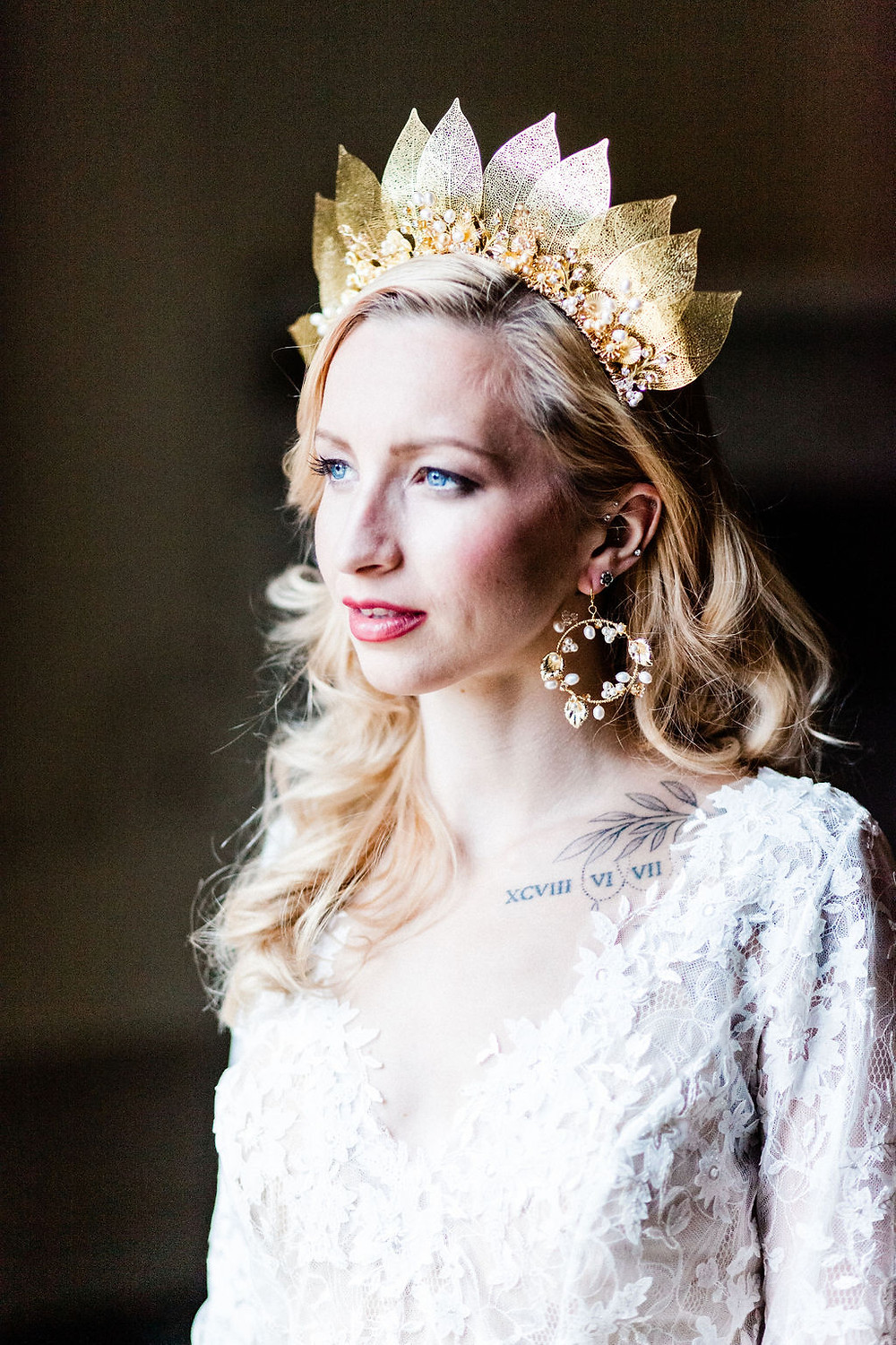 Tall gold leaf wedding crown with crystal and floral detailing
