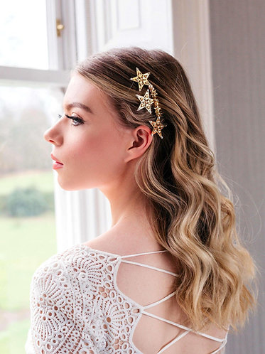 Unique gold star wedding hair piece - Vega