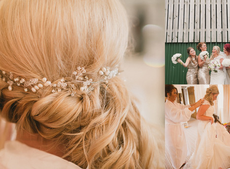 Real bride Laura looks beautiful wearing my Fern Swarovski hair vine. A fabulous barn wedding in Che
