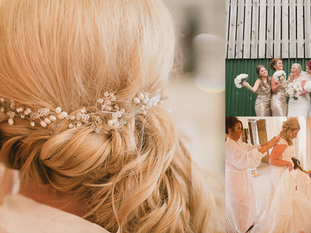 Real bride Laura looks beautiful wearing my Fern Swarovski hair vine. A fabulous barn wedding in Che
