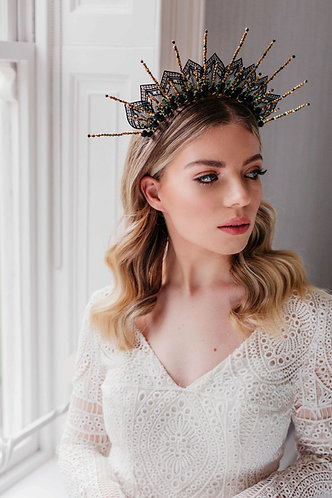 Black wedding headpiece, statement crown - Onyx