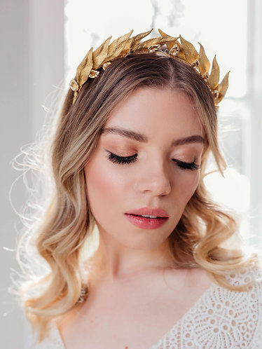 Bridal headpiece - greek style goddess crown in gold -Ceres