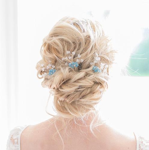 Floral bridal hair pins with blue Swarovski crystal