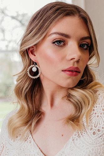 Boho pearl bridal earrings in silver or gold - Amelie