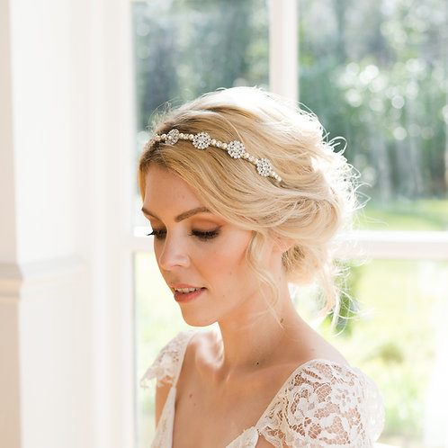 Crystal Wedding Headband with Swarovski Pearls