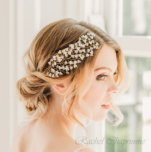 Bohemian bridal hair vine with crystal leaves