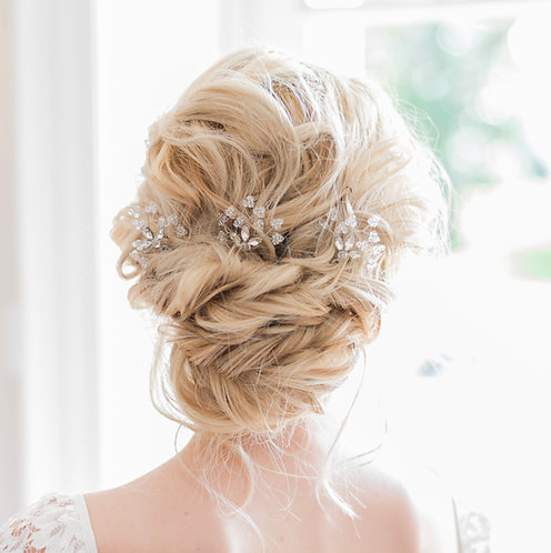 Crystal bridal hair pins with Preciosa crystals
