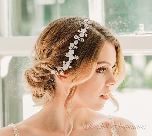 Bohemian bridal hair piece with pearls and crystals