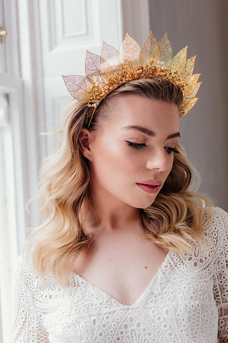 Statement bridal headpiece for beautiful boho brides in silver or gold - Adira