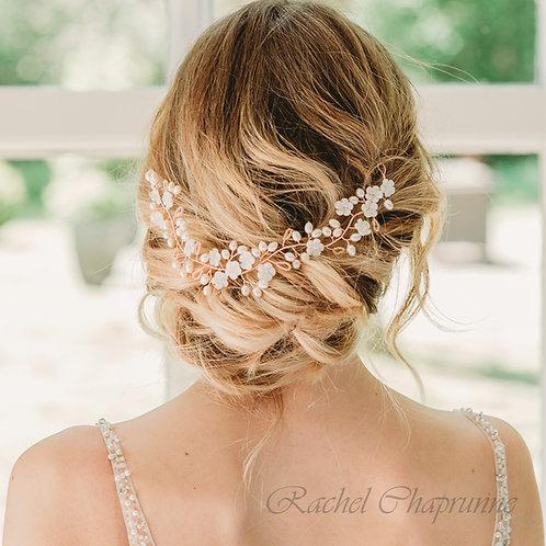 Beautiful rose gold bridal hair vine pearl & Preciosa - Liana