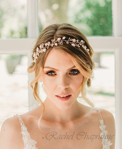 Rose gold boho bridal hair vine